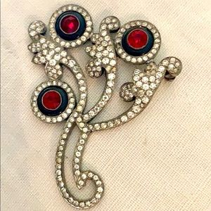 Vintage antique rhinestone brooch needs repair